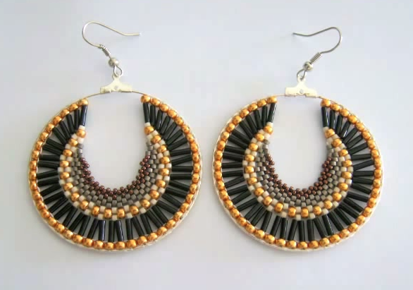Free Beaded Brick Sch Hoop Earrings Tutorial Featured In Bead Patterns Newsletter