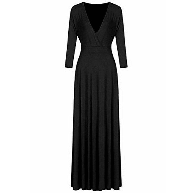 Bodycon4U Women's Plus Size Deep V Neck 3/4 Sleeve Solid