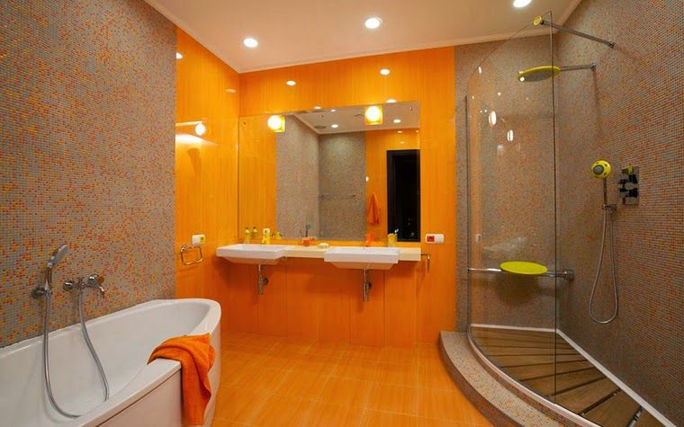 10 Modern Bathroom Designs And Ideas In Orange Color Orange Bathrooms Modern Bathroom Design Modern Bathroom