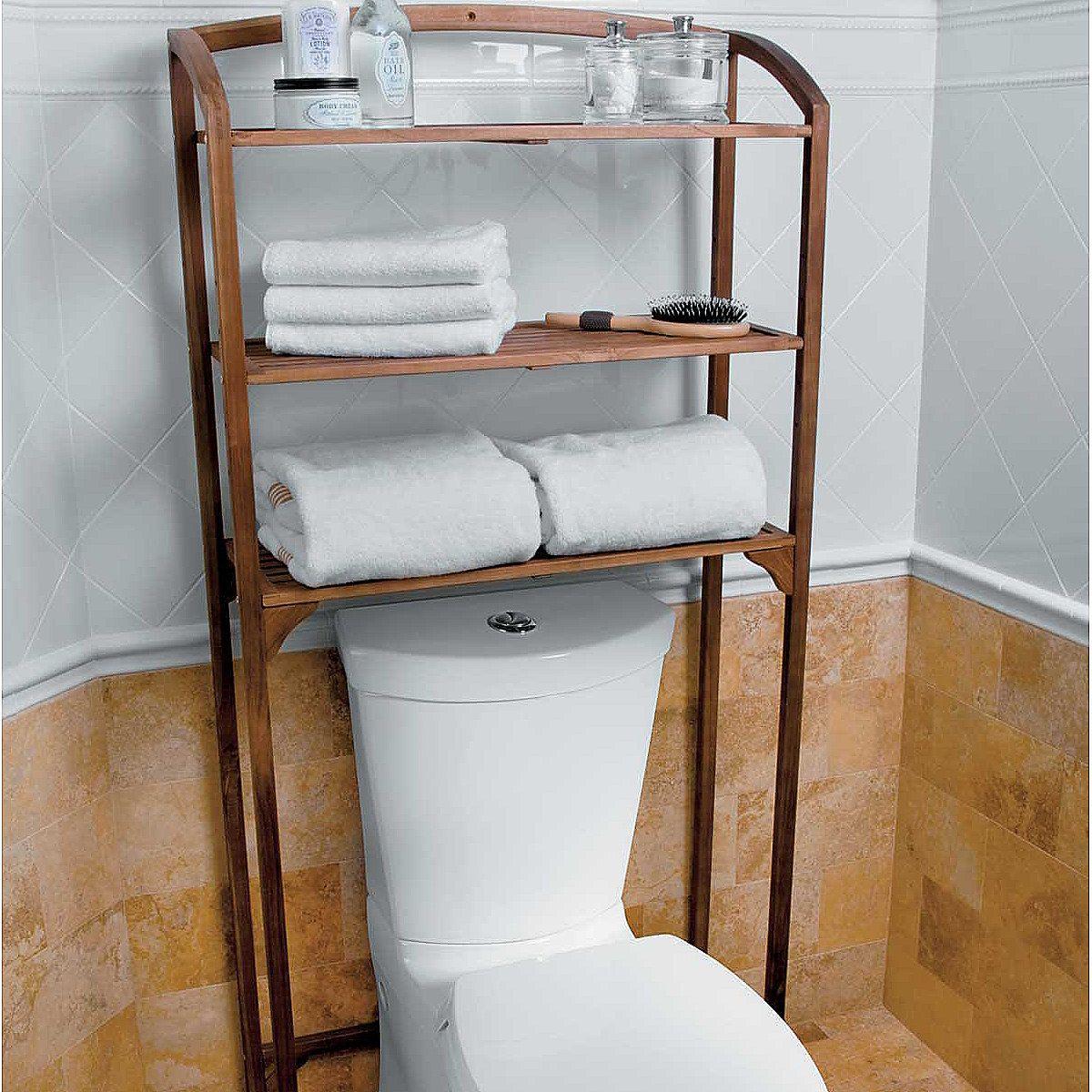 Teak bathroom space saver - Teak Bathroom Space Saver