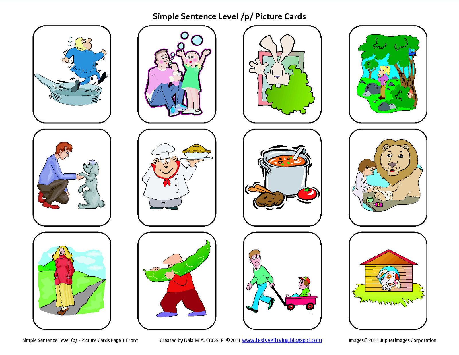Testy Yet Trying P Simple Sentence Free Speech Therapy Articulation Picture Cards