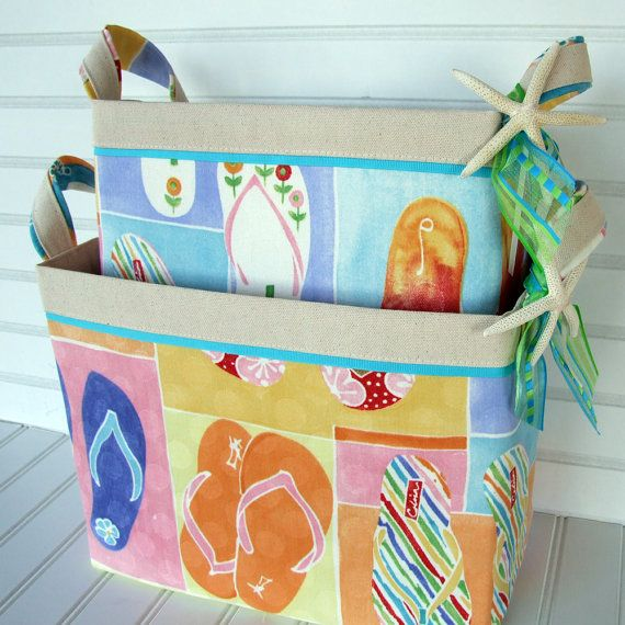 Large Coastal Flip Flop Fabric Storage Basket