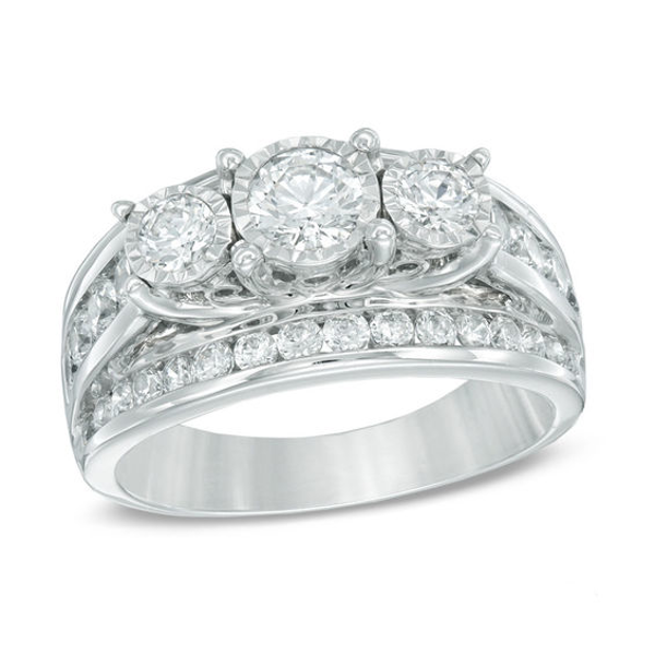 95f4697b209f6 2 CT. T.w. Diamond Past Present Future® Ring in 14K White Gold in ...