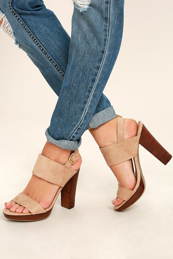 3d416adc39f1 Amp up your pool party game with the Report Lawrena Natural Suede Platform  Heels! These sun-ready heels have a peep-toe upper made from faux suede