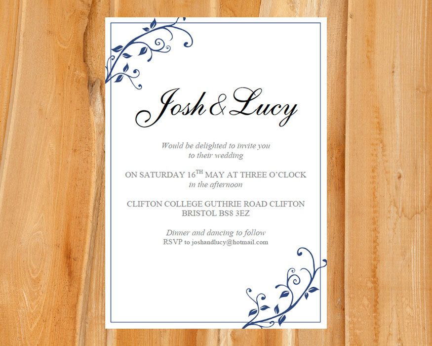 wedding invitation template ivy blue download printable microsoft