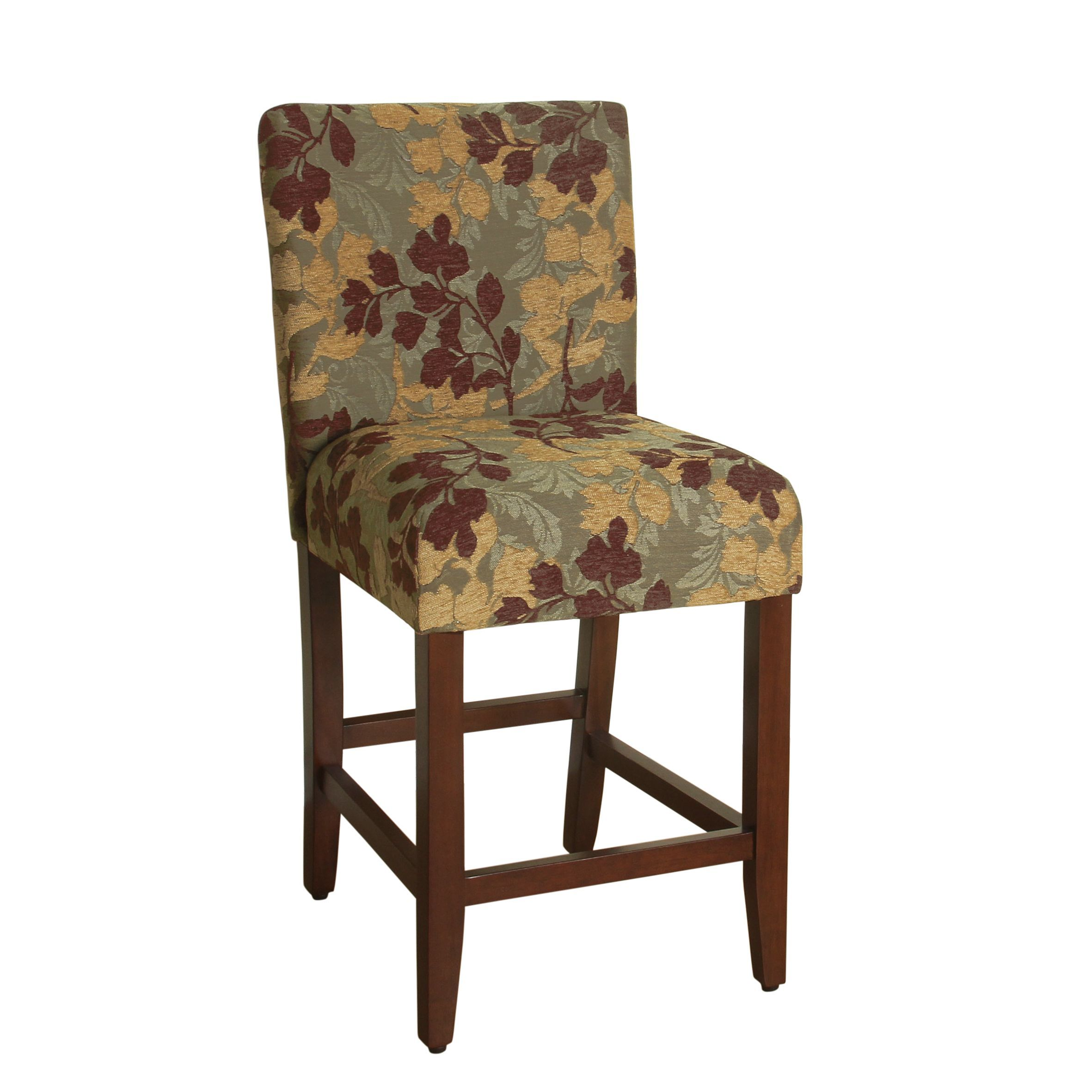HomePop 24 inch Counter Height Tan Sage Leaf Upholstered Barstool