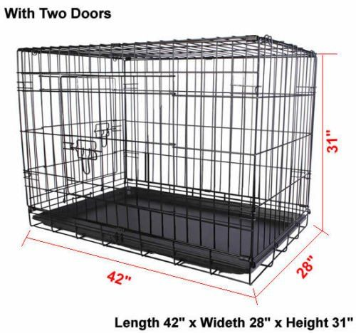 42 2 Doors Wire Folding Pet Crate Dog Cat Cage Suitcase Kennel Playpen W Tray Special Dog Product Just For You Wire Dog Crates Cat Cages Dog Crate Cover