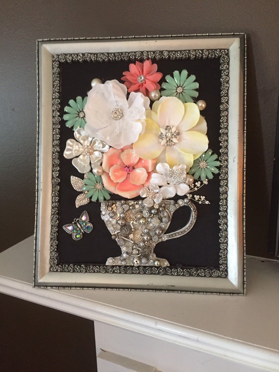 A personal favorite from my Etsy shop https://www.etsy.com/listing/280301454/beautiful-framed-vintage-jewelry-flower