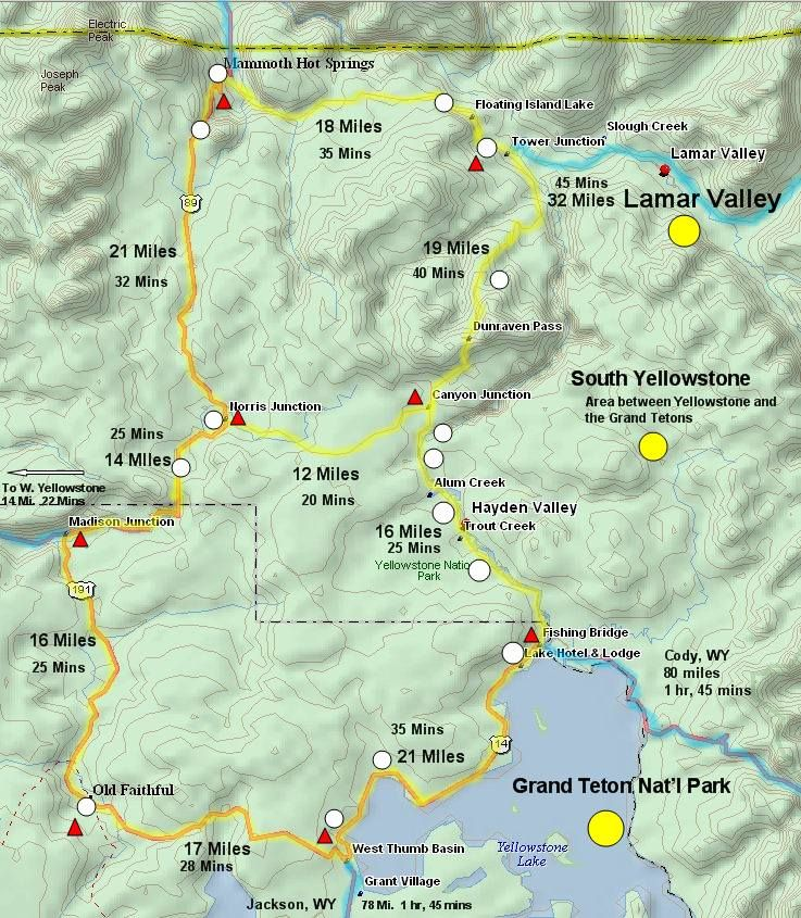 Yellowstone National Park Karte.Map Used To See Various Sections Of Yellowstone And Driving