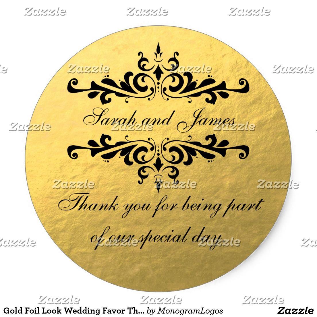 Round Wedding Invitation Label 1: Gold Foil Look Wedding Favor Thank You Label