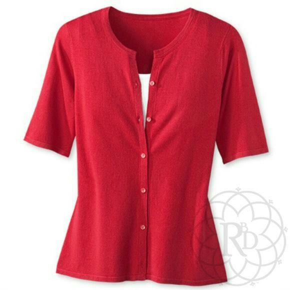 Coldwater Creek Red Short Sleeve Cardigan NWT | Red shorts ...