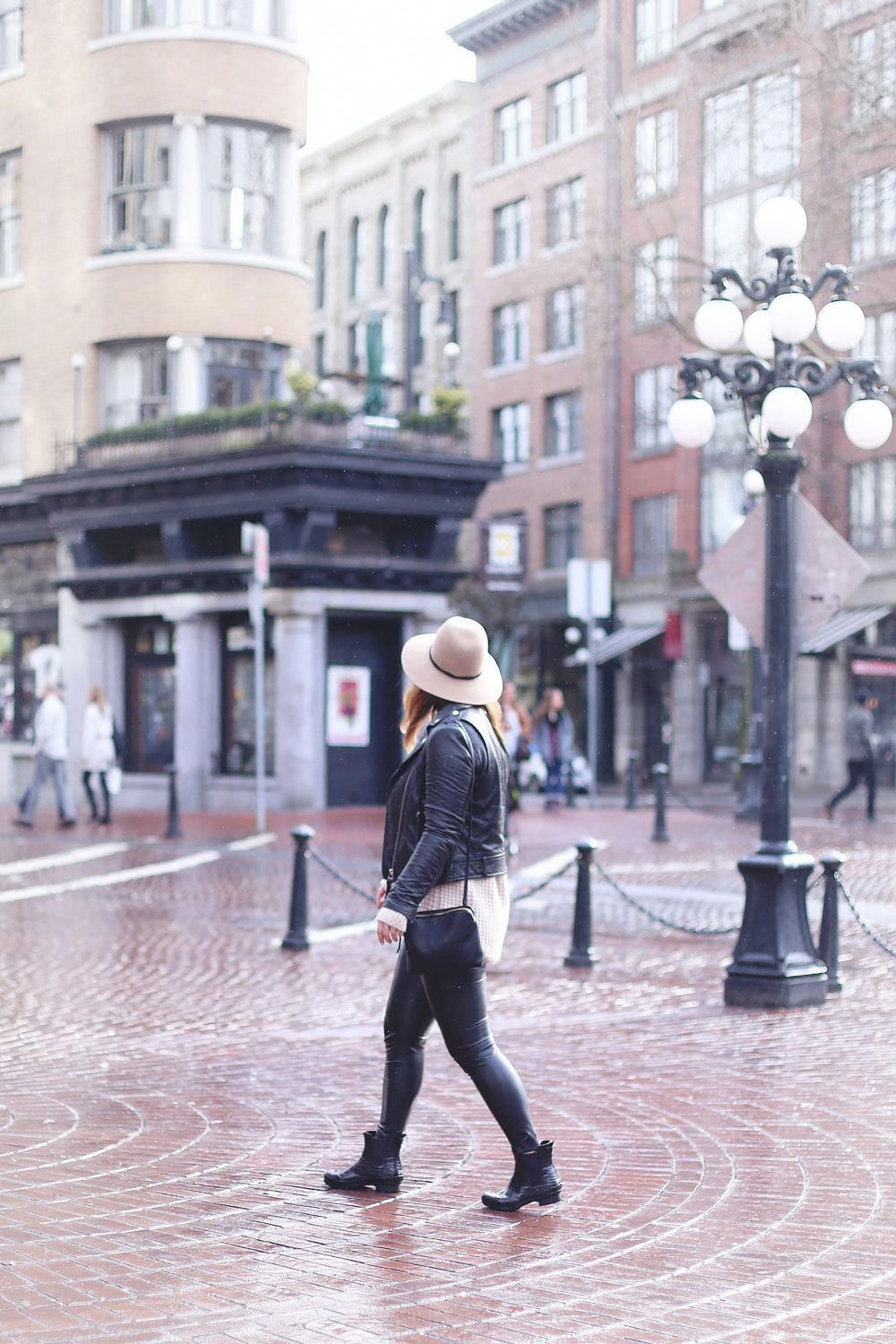 fceafc2e2c52d9 Rainy day outfits ideas in Roma boots, Mackage leather jacket, Express  fedora, Aritzia sweater, Aritzia leather leggings styled by To Vogue or  Bust # ...