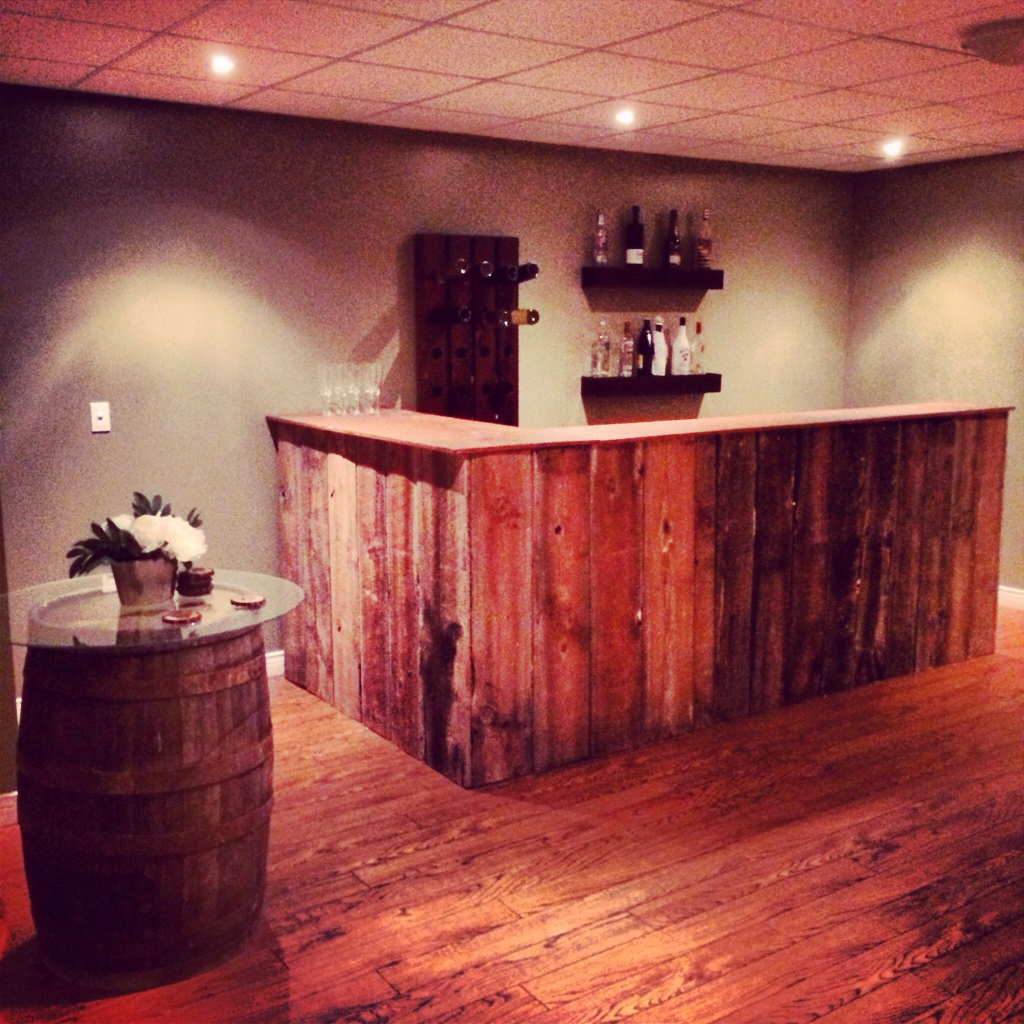 My DIY barn board bar . DIY barrel standing pub table ... These two ...