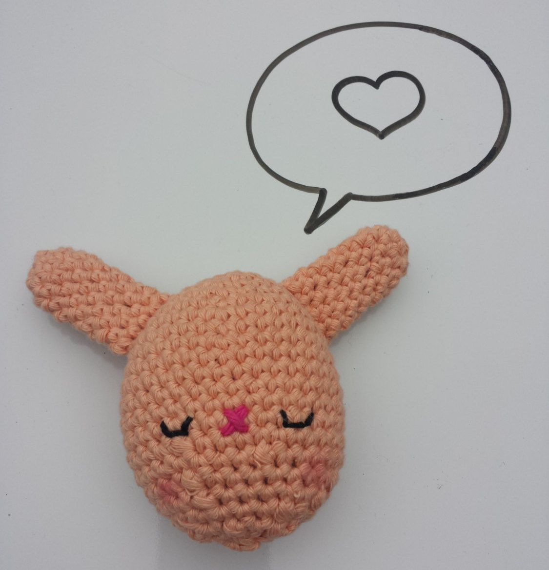 Crochet stuffed Bunny Egg toy, in 100% Cotton, Pastel Peach, Available in other colours by CroShellbyshelley on Etsy