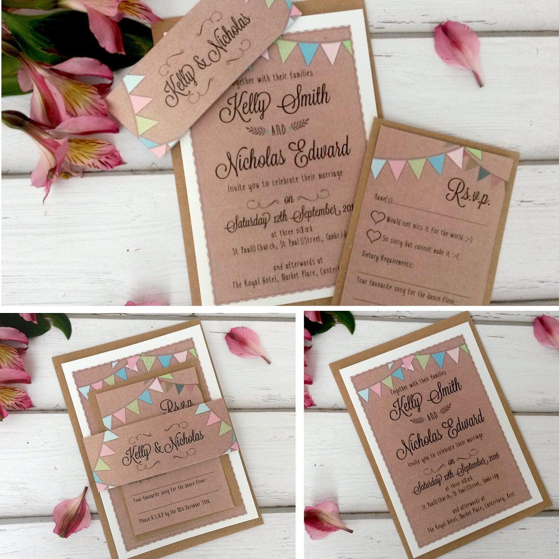 Personalisierbare Hochzeits Einladungen Mit Umschlag Karte Sleeve U0026  Briefumschläge, Kraftpapier Wimpelkette **: