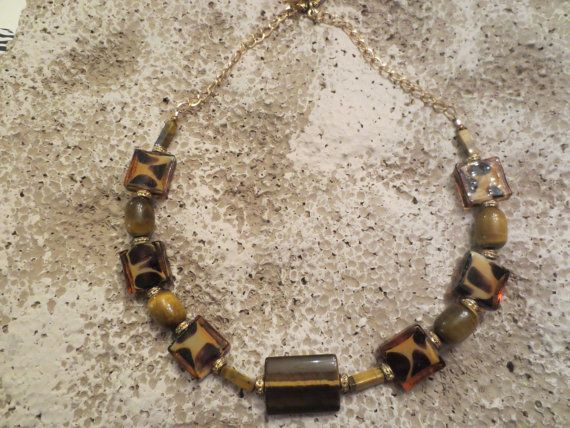 Tiger's Eye and Animal Print Choker by ButterflyandMoon on Etsy, $48.00