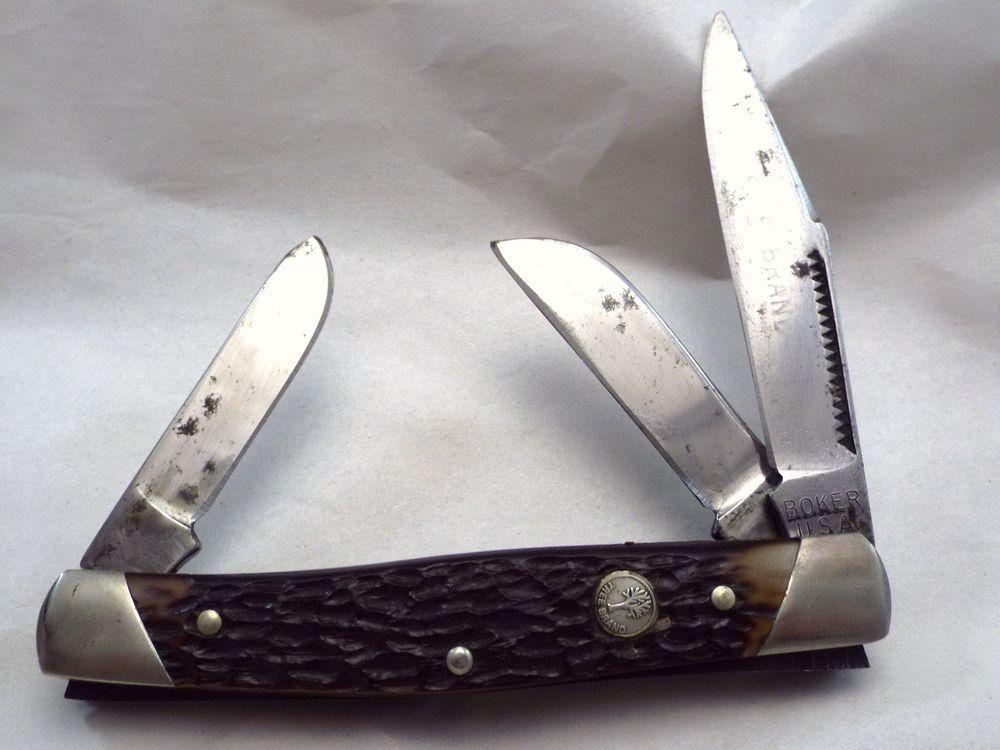 vintage BOKER USA TREE BRAND Carbon Steel 3 blades 9885