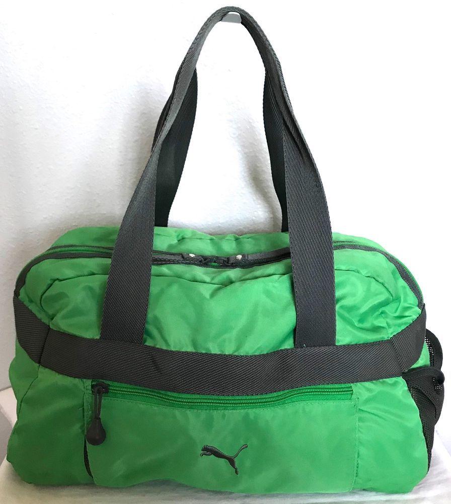 4b40e09a3b1b PUMA Duffel Bag-Gym Bag-Overnight Bag-Travel Bag-Green Gray-Lined ...