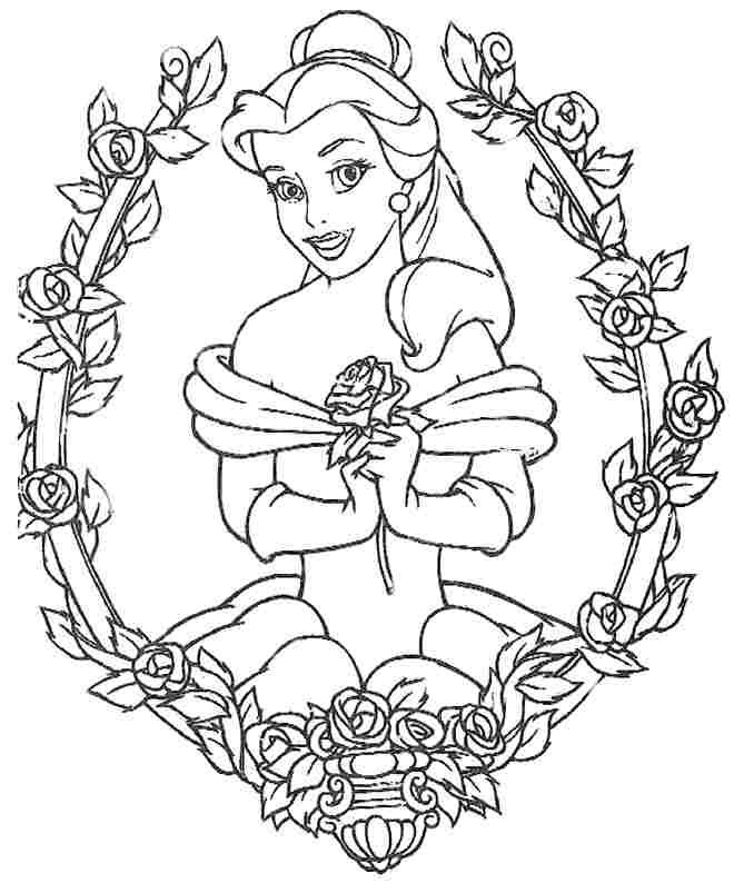 colouring sheets disney princess belle free for girls