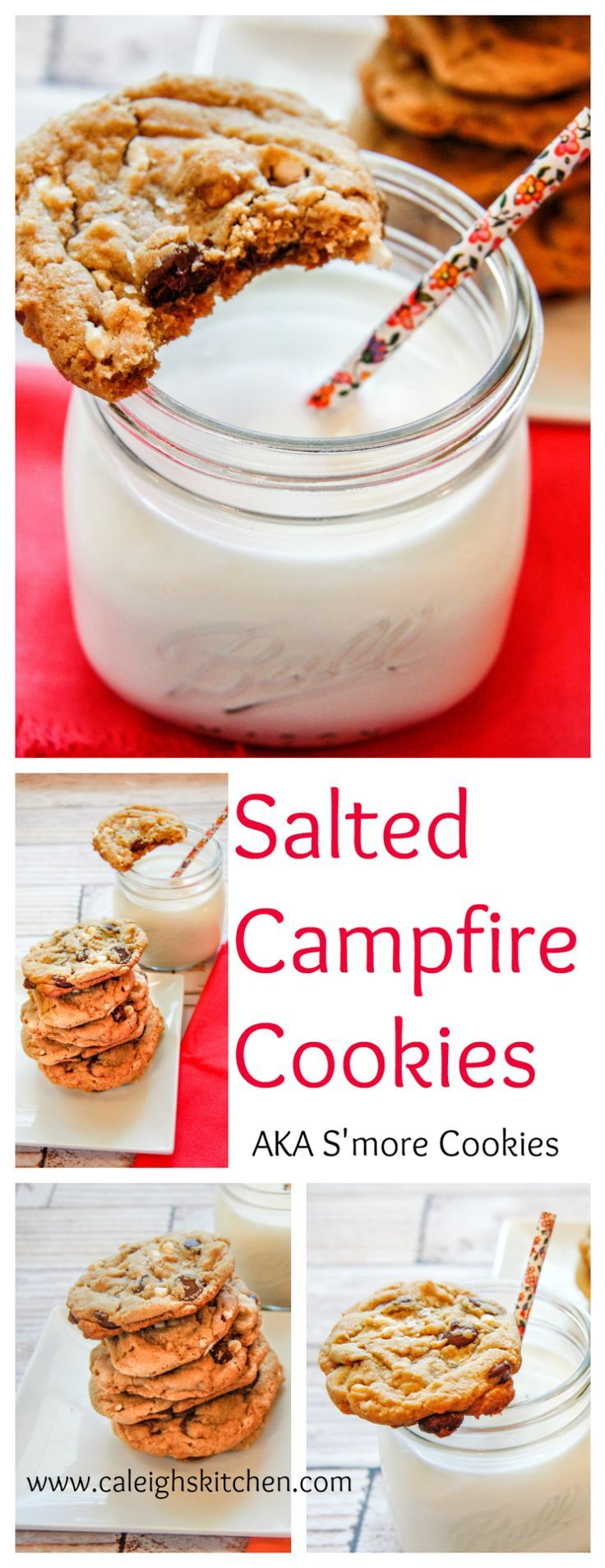 Salted Campfire cookies- Browned Butter and S'mores make these the best cookie ever!!! | Caleigh's Kitchen