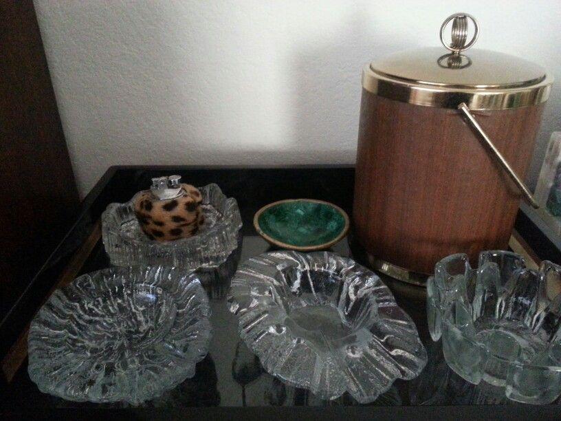 Art glass ashtrays,  ice bucket,  Project Lab style