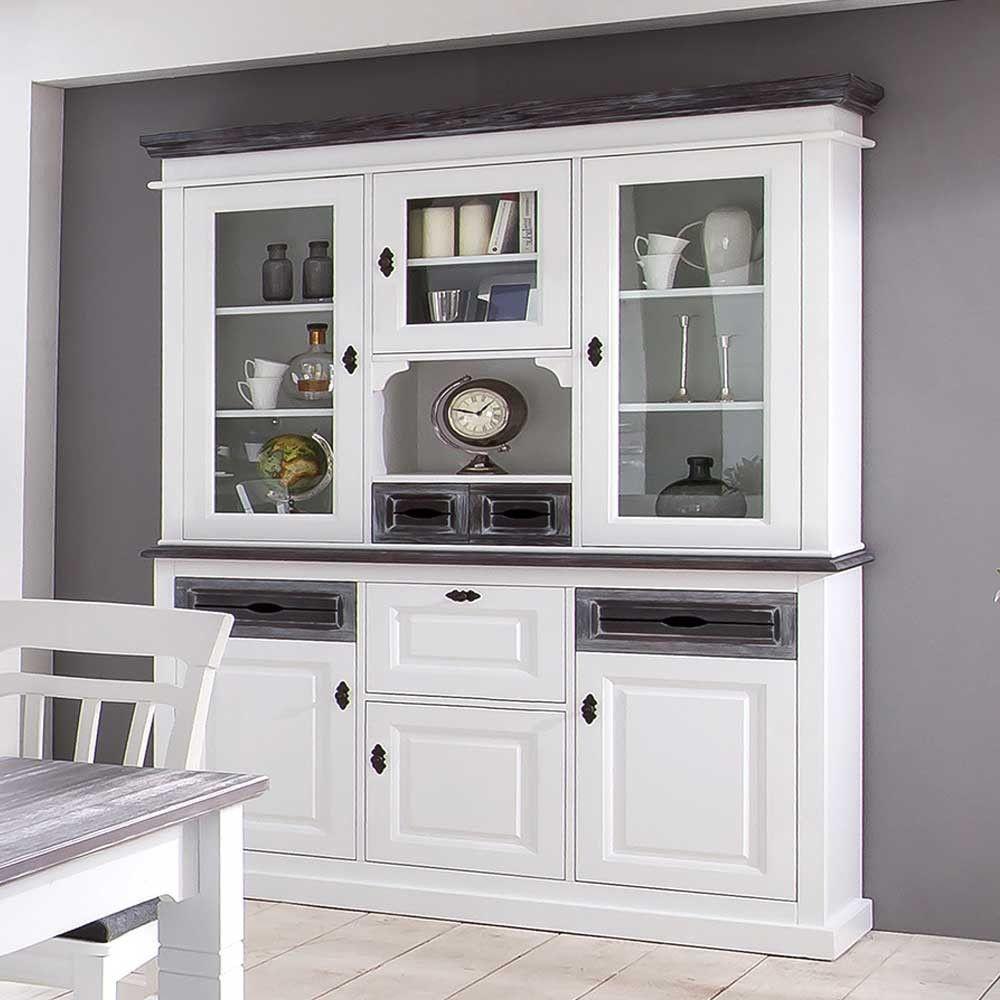Wunderschönes Küchenbuffet Ancona Weiß Und Grau ✓ Aus Fichte Teilmassiv  Gefertigt ✓ Im Landhausstil ✓ 200 Cm Hoch ✓ Beste Qualität ✓ Kauf Auf Raten