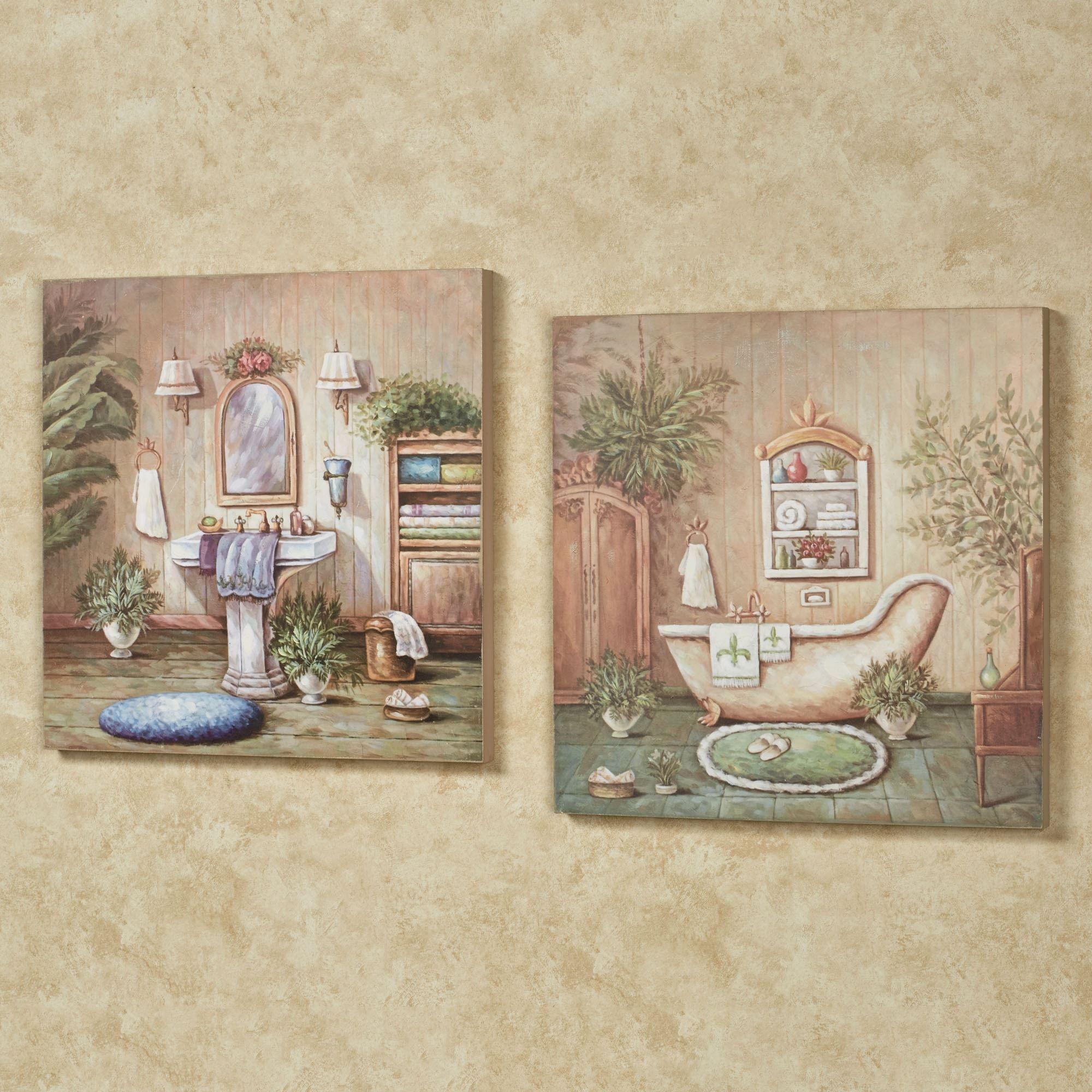 Blissful Bath Wooden Wall Art Plaque Set In 2020 Wooden Wall Art Wall Decor Set Bathroom Artwork