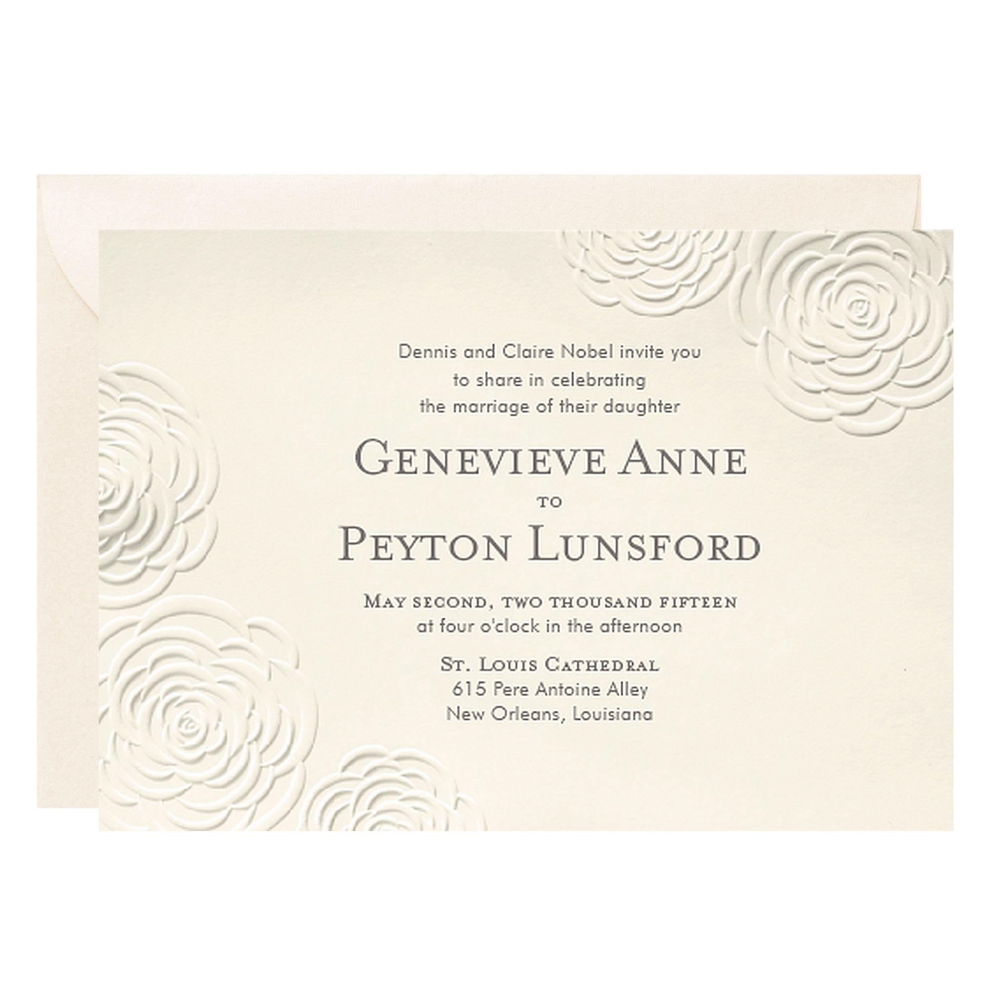 Embossed Roses Wedding Invitation - Genevieve & Peyton | BODAS ...