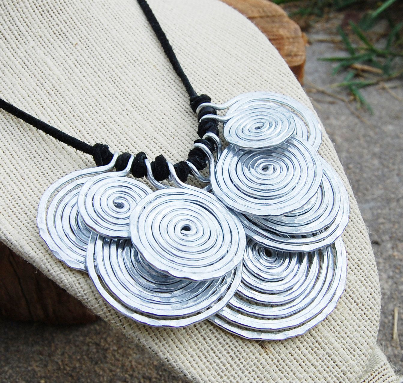Metal Bib Necklace Aluminum Disc Wire Jewelry Kara Spiral and Bibs