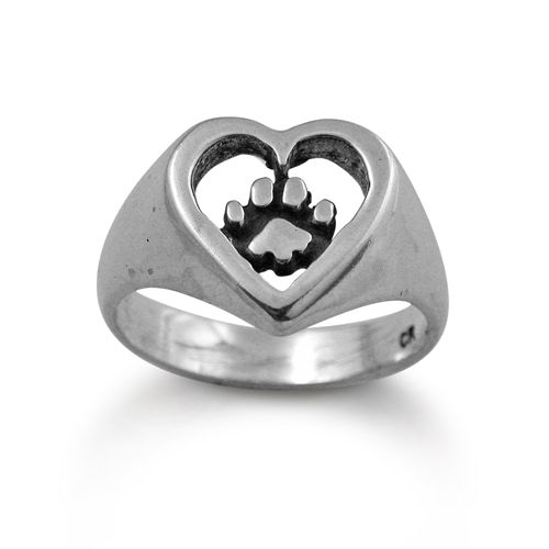 Paw Print Ring Silver Heart | Sparkly | Paw print ring ...