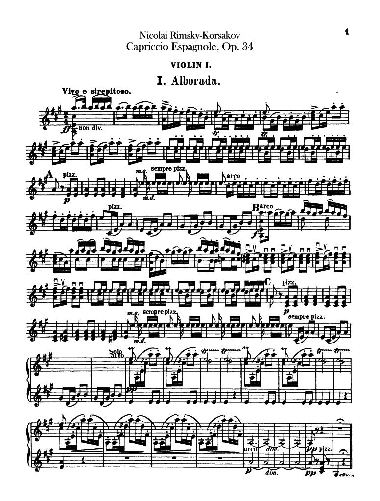 Spanish Capriccio, Op 34 (Rimsky-Korsakov, Nikolay) - IMSLP/Petrucci