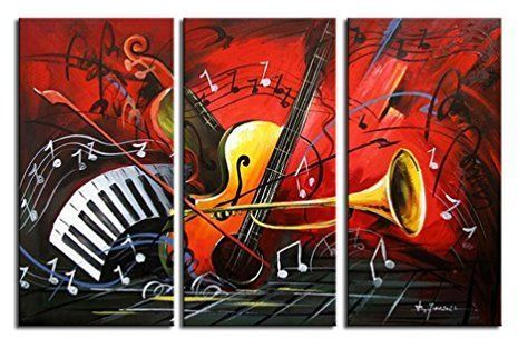 Noah Art Modern Music Wall Art 100 Hand Painted Musical Instruments Contemporary Abstract Oil P Red Abstract Painting Music Wall Art Abstract Canvas Painting