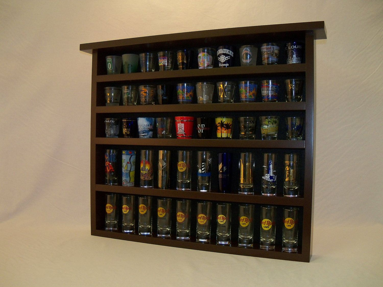 Espresso 50 Shot Glass Display Case With Black Felt Background Glass Display Case Display Case Shot Glass