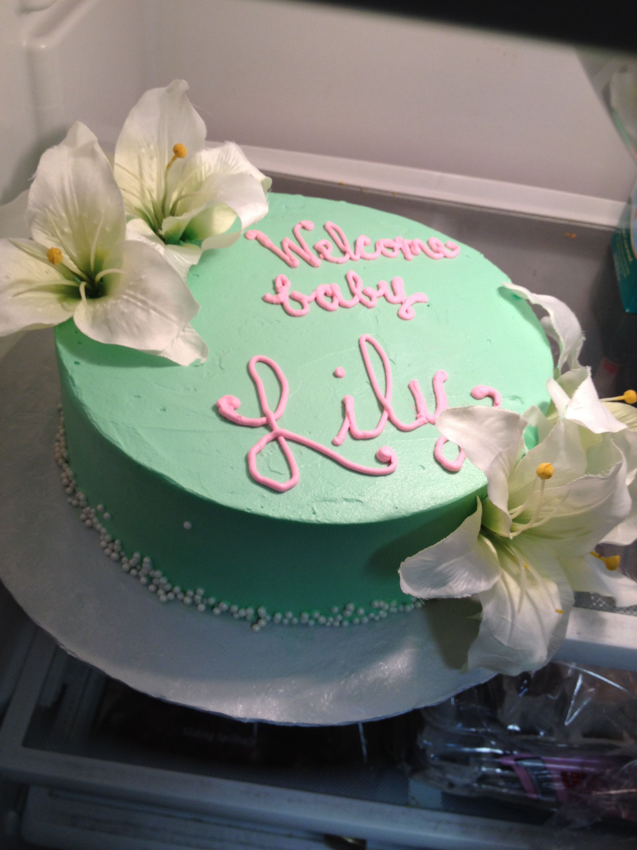 A Cake Perfectly Fit For A Baby Girl Named Lilysimple,