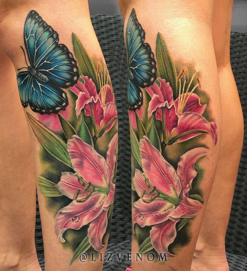 Amazing lily butterfly flower tattoo liz venom by lizvenom on