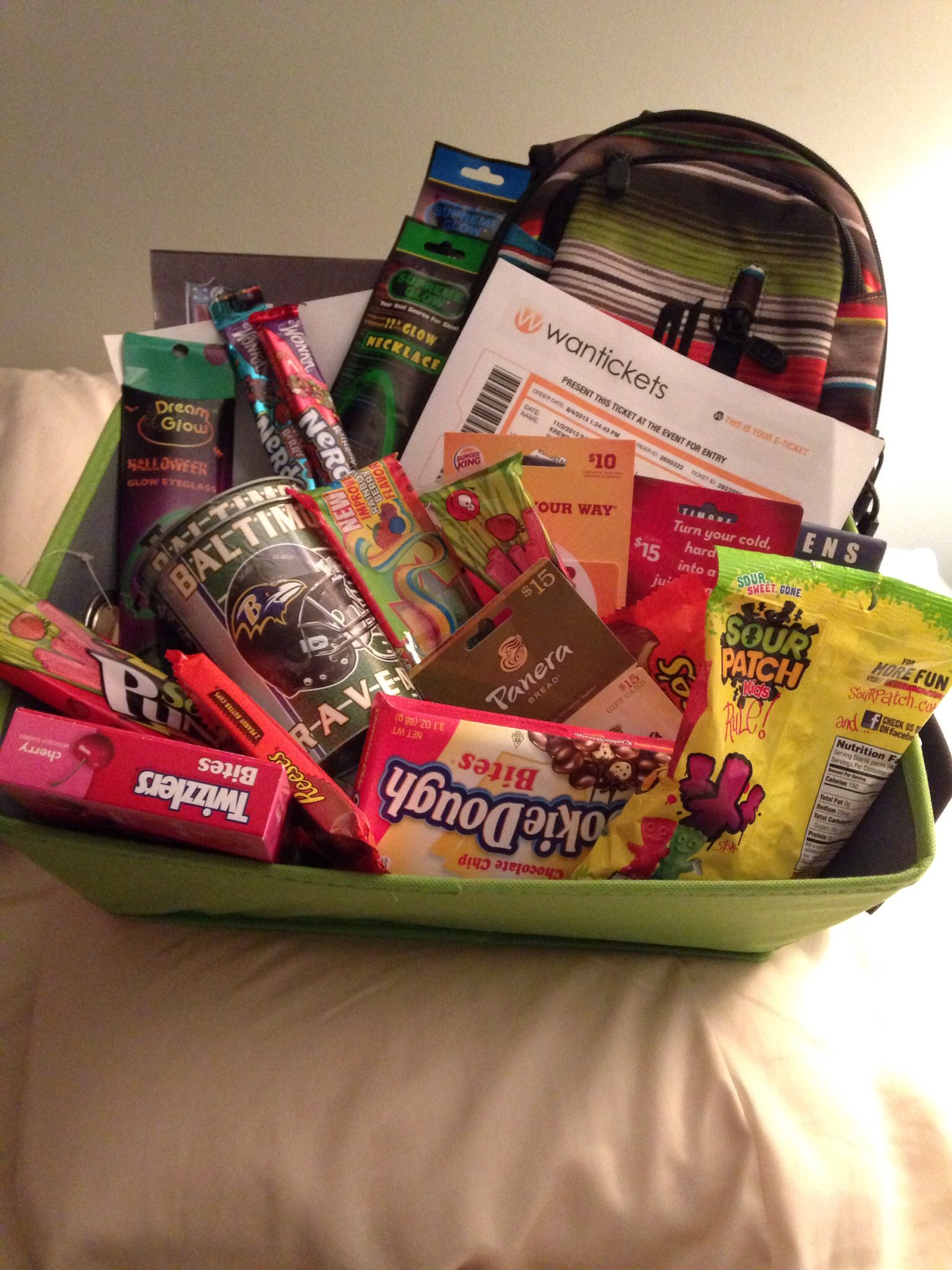 Birthday Gift Basket Idea Filled With Concert Tickets Favorite Candy Online Purchases Etc