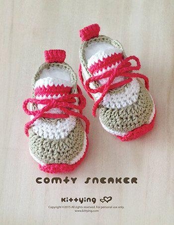 Crochet Baby Pattern Comfy Baby Sneakers por KittyingCrochet ...