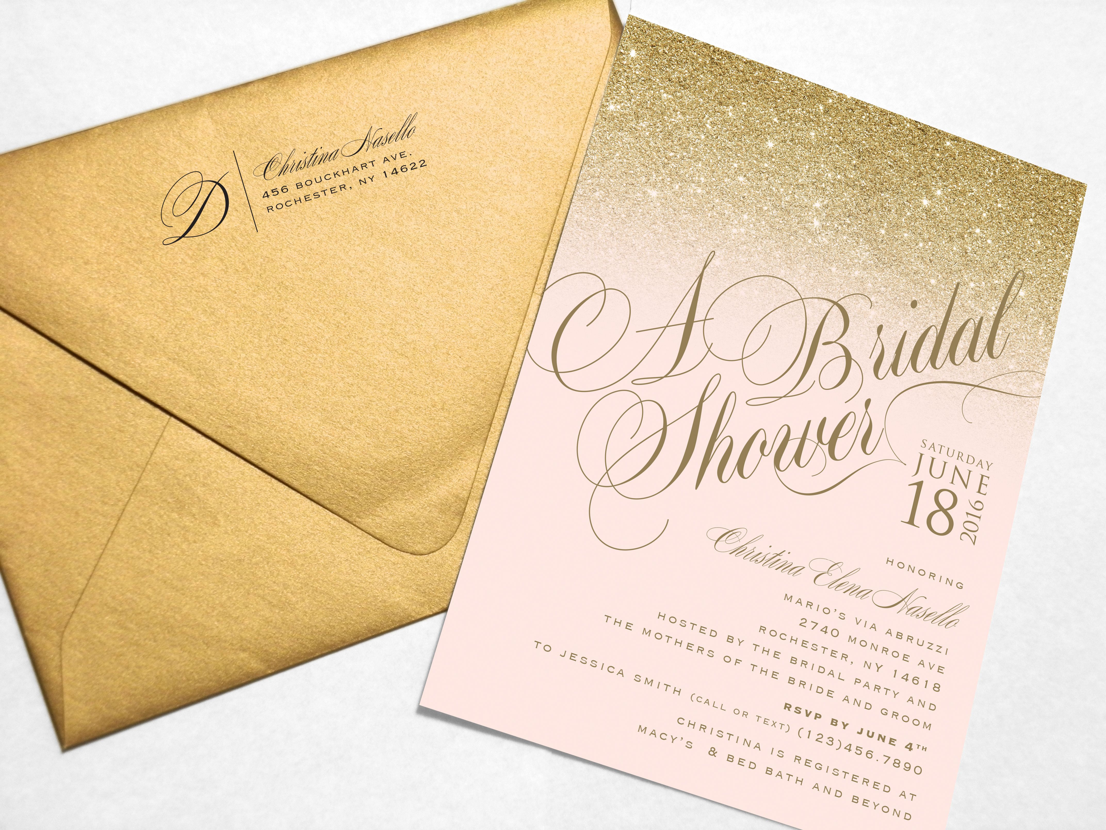 Gold and blush sparkle bridal shower invitation