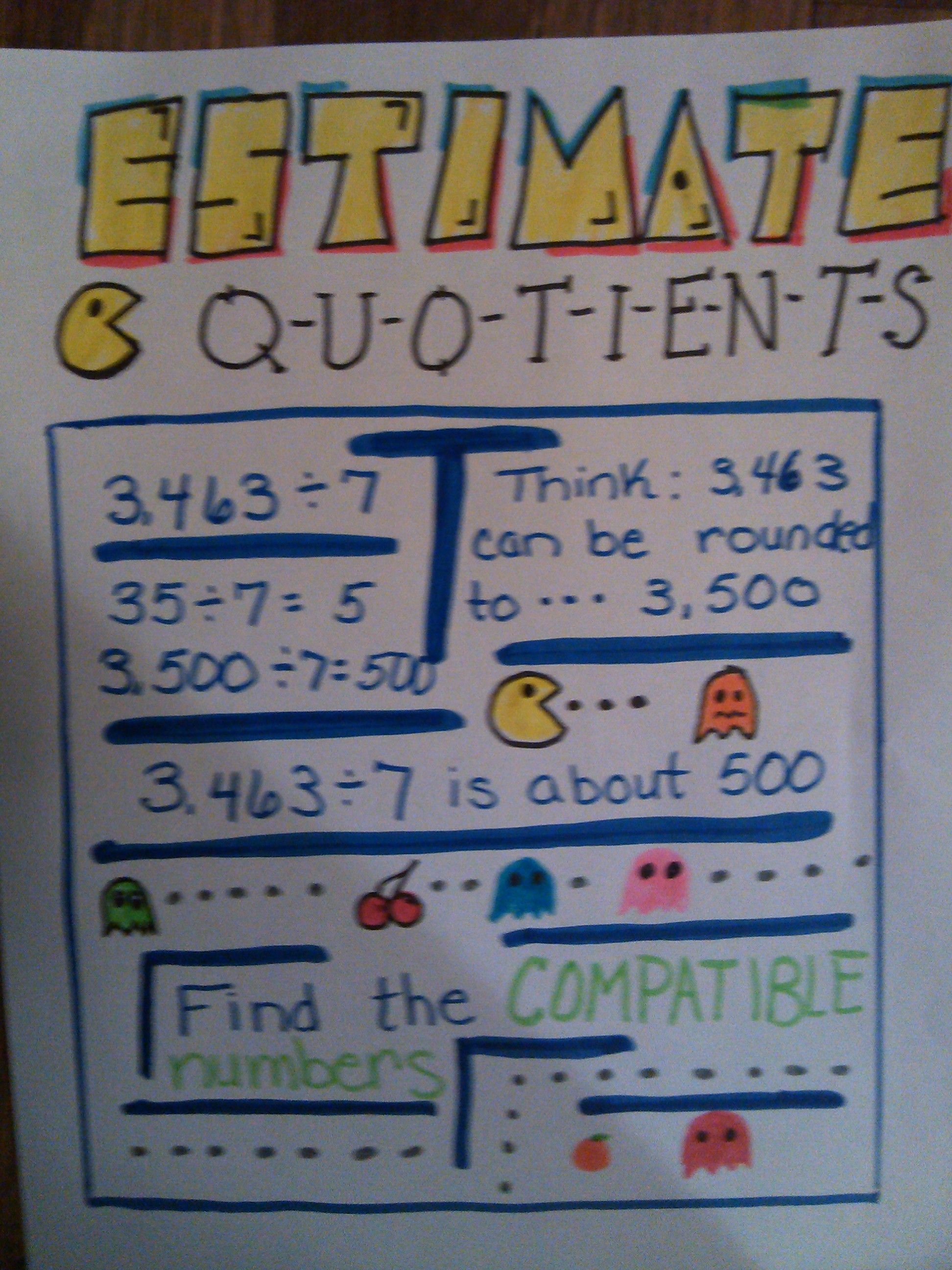 Estimate Quotients Anchor Chart Estimating Quotients 5th Grade Worksheets 4th Grade Math