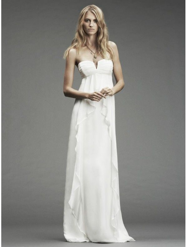 Chiffon Strapless Notched Neckline Empire Wedding Gown Style Bridal Gowns