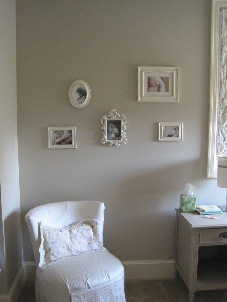 Gray and cream baby girl 39 s nursery benjamin moore paint for Creamy grey paint color