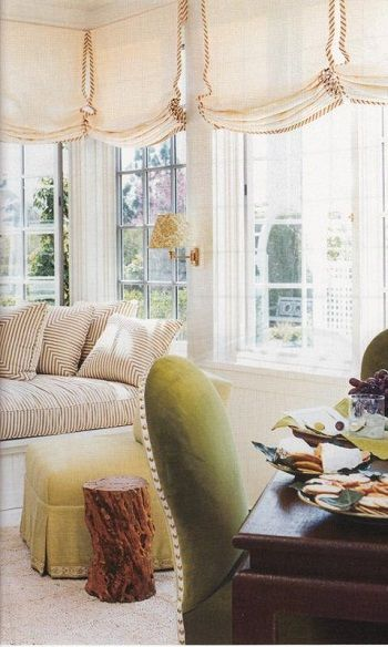 Relaxed Roman Shade Over Blinds