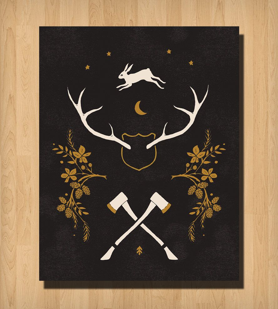 Antlers and Axes Print | Art Prints | Alisa Bobzien