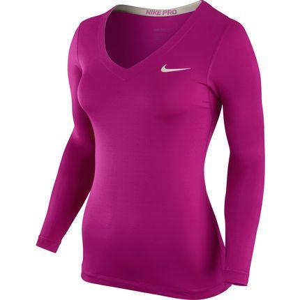 new styles bafc8 d896f Wiggle España   Camiseta de manga larga y cuello en pico para mujer Nike -  Pro - Primavera14   Prendas de compresión
