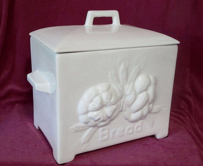 Ceramic Bread Box Traditional European Style White Xl Oos