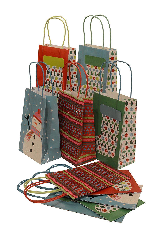 Assorted christmas paper bags petite medium set of 10