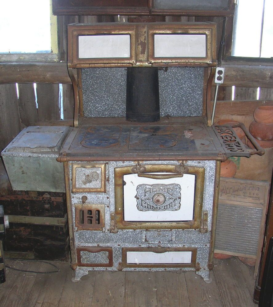 EARLY 1900s ANTIQUE HOME COMFORT WOOD COAL COOK STOVE - 1880s Comstock Wood Cookstove Gimme Some Oven Pinterest