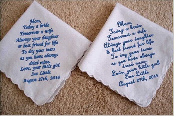 custom sweet hearts Mother-in-law's Mother of the Bride Wedding Embroidery  handkerchiefs Bridal