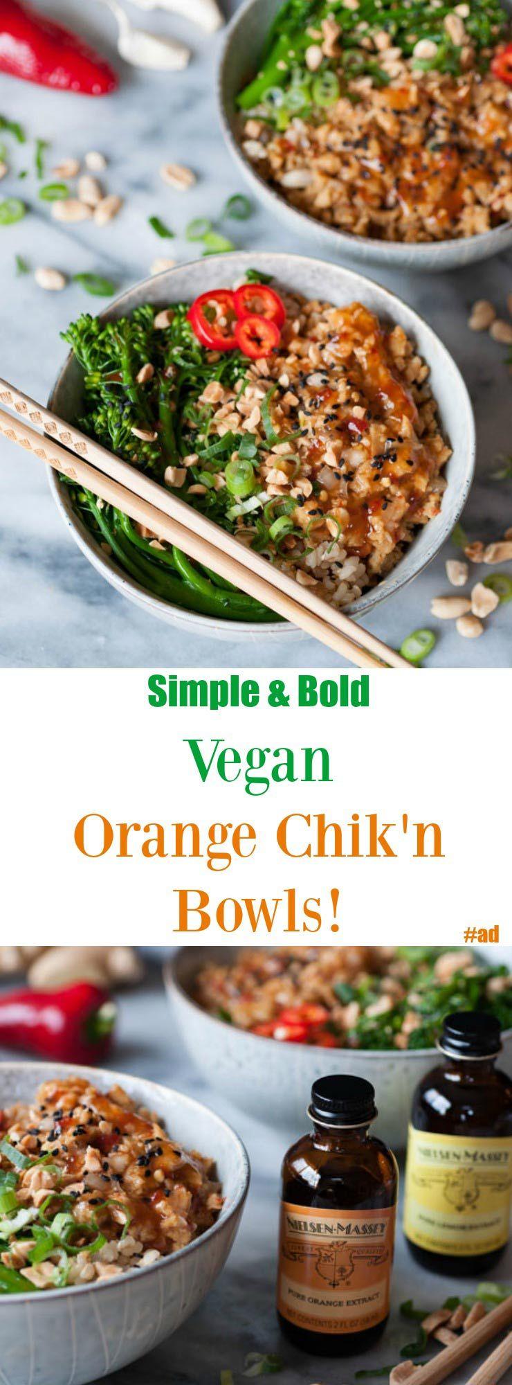 Spicy Vegan Orange Chikn Rice Bowls