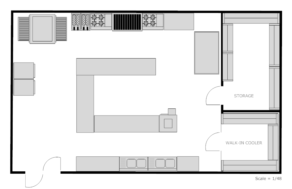 Example image restaurant kitchen floor plan this 39 n that for Small commercial kitchen design layout